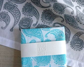 Happy Paisley Face Hankie - screenprinted cotton handkerchief