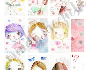 Angel Baby Fairies journaling collage sheets - by Mindy Lacefield
