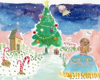 Merry Christmas - 9x6 original painting