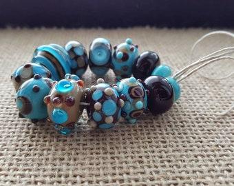 Handmade Lampwork Beads by SweetpeasGlassDesign- Chocolate Blue Berry Supreme