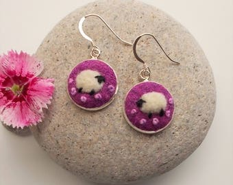 Felt Sheep Earrings Pink