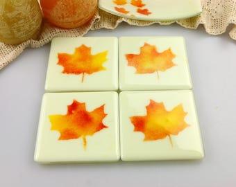 Maple Leaf Fused Glass Coasters, Home Decor Housewares Set of 4  Fused Glass Art  Hostess Gift  Home Decor, GetGlassy