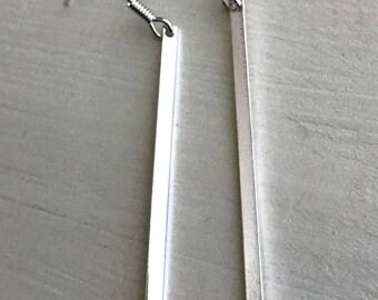 Simple Silver Bar Drop Earrings
