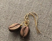 Coffee Bean 14k Gold Filled Earrings. Coffee Lovers Gift. Gifts For Her. Gold Studs. Gold Lever Back