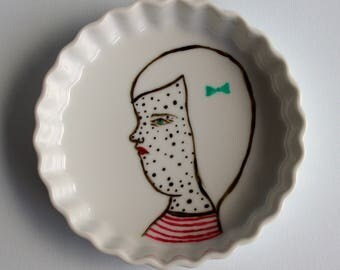 Sweet Freckles Painted on Recycled Creme Brullee Dish by Allyson