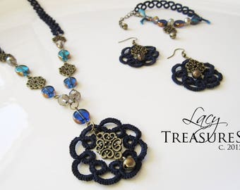 Lace Bead Necklace, Long Statement Necklace, Beaded Jewelry, Delicate Filigree, Blue Jewelry, Lace Pendant, Glass Beads Charms, Gift for Her
