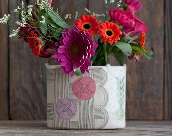 vase - flower brick - folk - illustrated - handmade - floral - art pottery