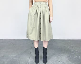 Khaki High Waist Midi Skirt (S)