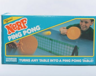 Nerf Ping Pong, Table Tennis, set, Vintage, Game, The Parker Brothers, 80s, in a box, paddles, plastic net ~The Pink Room ~ 170212