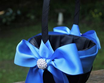 Black Satin Flower Girl Basket/Pillow with Royal Blue Satin Sash and Bow - Rhinestone Cluster Accents-Age 4-7
