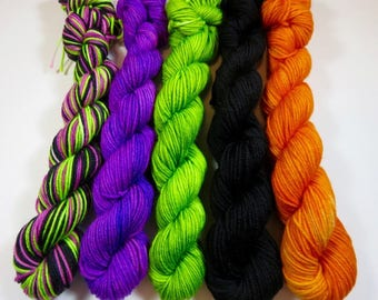 Hand Painted Superwash Merino/Nylon 4-Ply Sock Yarn Mini Skeins Set (20grams/92yards) -- Frankenstein and Friends (100 grams 465 yards)