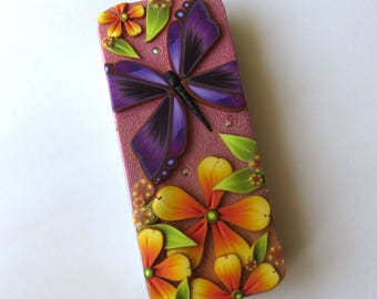 Purple Butterfly Slide Top Tin, Sewing Needle Magnetic Pin Box Polymer Clay Covered Tin, Magnetic Needle Case