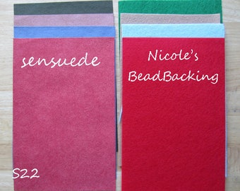 Ultrasuede/Sensuede Microfibor Fabric Set with Free Nicoles BeadBacking Red Mocha blue red S22