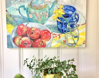 Original mixed media still life painting on canvas by Polly Jones free shipping