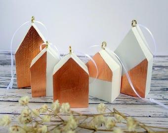 Metallic copper leaf & white wood house Christmas ornaments / decorations. Unusual, modern, minimalist tree decor. Set of 5.