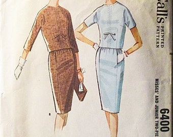 60% OFF SALE 1960s Vintage McCalls Sewing Pattern 6400 Misses Two-Piece Dress Pattern Size 12 Bust 32