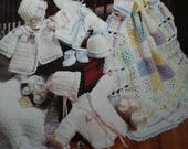 Baby Crochet Patterns Baby Cuddles Needlecraft Shop 951811 Cardigan Afghan Hat Booties Bonnet Sport Weight Yarn Paper Original NOT a PDF