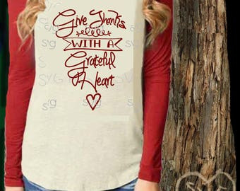 Give Thanks SVG Commercial Use digital file for wood signs, stenciling, htv Cricut Silhouette cut file Fall Thanksgiving Christian Scripture