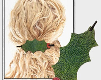 Holly & Sparkle Holiday Hair Stick Barrette Digital SVG Cut File Faux Leather Gift, Cricut, Silhouette Hair Barrette Leather Look Two-Tone