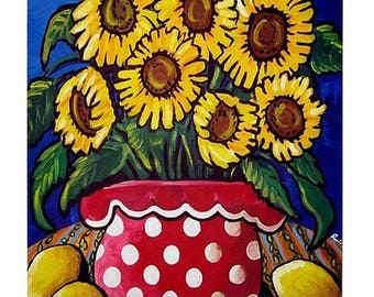 Sunflowers In Polka Dots With Lemons  Fun Colorful  Whimsical Folk Art Ceramic Tile