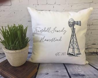 windmill  throw pillow cover,  farmhouse pillow, family homestead, personalized pillow, housewarming pillow, farm