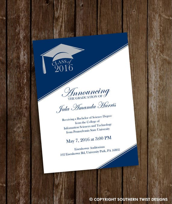 Graduation Invitation Graduation Announcement Masculine