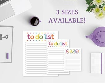 To Do List Notepad - To Do List - 3 Sizes Available - Colorful Lights - To Do List Note Pad - To Do Notepad