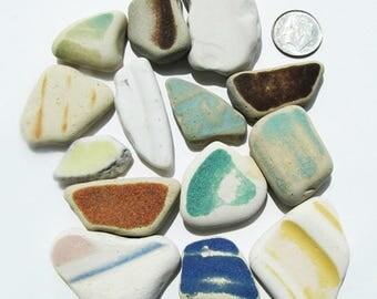 Multi-Colored Sea Pottery Shards, Lot of 14