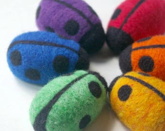Montessori Counting Toy: Count Your Ladybugs Bright Rainbow (Needlefelted Wool Learning Toy, Set of 6)