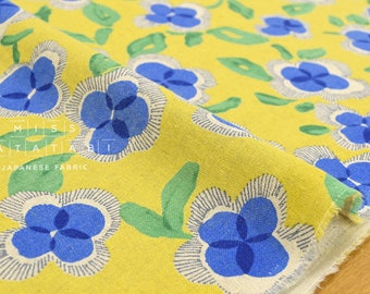 Japanese Fabric watercolor flowers - blue, yellow - 50cm
