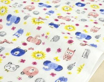 Japanese Fabric Kokka Fuara animals double gauze - 50cm