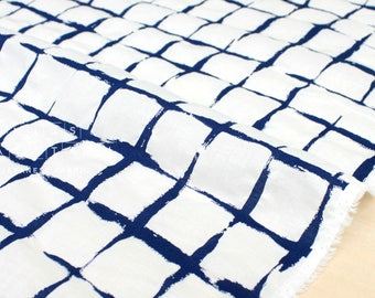Japanese Fabric Textured Enshuku Lawn Check - blue - 50cm