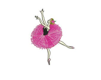 Fuchsia Ballerina Ballet Dancer Machine Embroidery File design 4x4 hoop - Tutu