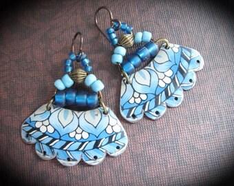 Tin Earrings. Beaded Tin Earrings. Gypsy Tin Earrings.Blue Flower Earrings