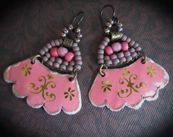 Tin Earrings,Tin Dangle Earrings, Tin Gypsy Earrings,Pink Dangle Earrings