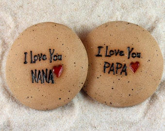 Painted Rocks, I Love You Nana, I Love You Papa Ceramic Message Stones, Pocket Stones, Rock Art