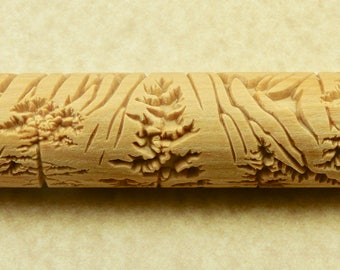 MUIR'S MOUNTAIN n Trees n Deer 12cm Wood Hand Roller for Clay, Pottery, Ceramic Impression Stamp Mountain Pine BHR30