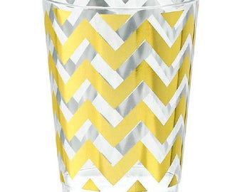 Gold Chevron Premium Tumblers-10oz.-Package of 20-NEW