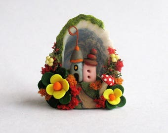 Miniature Whimsy Fairy House Diorama in Tiny Sea Shell OOAK by C. Rohal