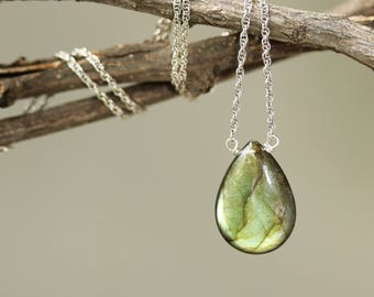 Olive green labradorite teardrop cabochon pendant necklace with aquamarine beads on the side and oxidized sterling silver chain