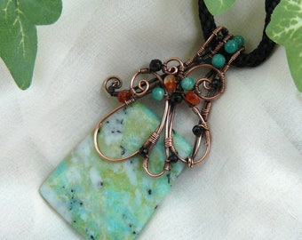 Wirewrapped Chrysocolla ~ Chrysocolla Pendant ~ Wirewrapped Bead ~ Wirewrapped Green Stone ~ Green Stone Necklace ~ Copper Wire Pendant