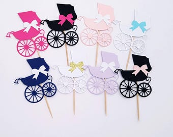 Pram Baby Shower Cupcake Toppers/ Picks Choice of Colours