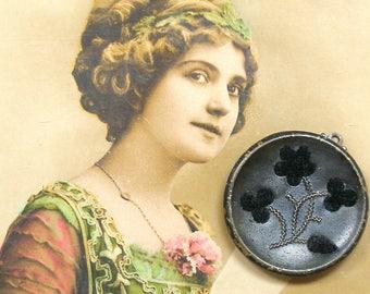 Black Velvet Flowers pendant, Victorian perfume button. Unique present, gift.