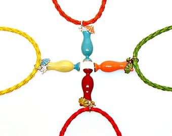 SALE Bracelet or Anklet Adjustable Tropical Cocktail Drink Plated Pendant Friendship Braided Faux Leather Epoxy Color Charm