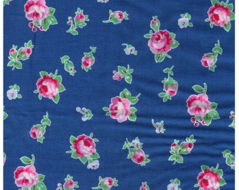 Sale HALF Yard - Single Rose Buds on BLUE 30843-77 - Fall 2013  Flower Sugar Lecien, Bouquet, Blue, Green, Red, Pink, Yellow - Japanese