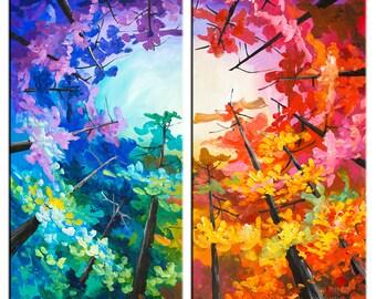 """Art, fine art,  48"""" painting,, Fresh art, autumn Art,  Contemporary art Huge art Original art acrylic painting, Looking Up forest skyline"""
