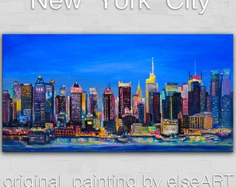 New York City painting art large oil painting wall art perfect home eye-catching focal point by Tim Lam 48x24