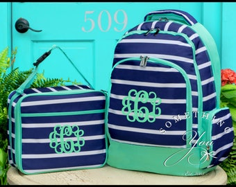 Presley Prep Stripe Monogrammed Backpack and Lunchbox, Matching Set, Personalized School Bags for Girls, Navy and Lucite Stripe Bookbags
