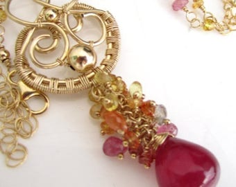 SUMMER SALE Ruby Sunset Necklace - Sapphire and Ruby Cascade in Gold