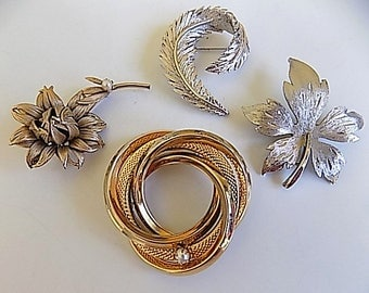 FREE SHIPPING Vintage Lot Metal Brooches Leaves Flower Silver Gold